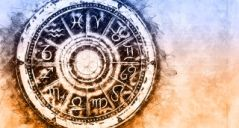 Zodiac sign horoscope circle on grunge background