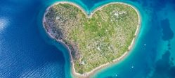 Aerial view of the heart shaped Galesnjak island on the