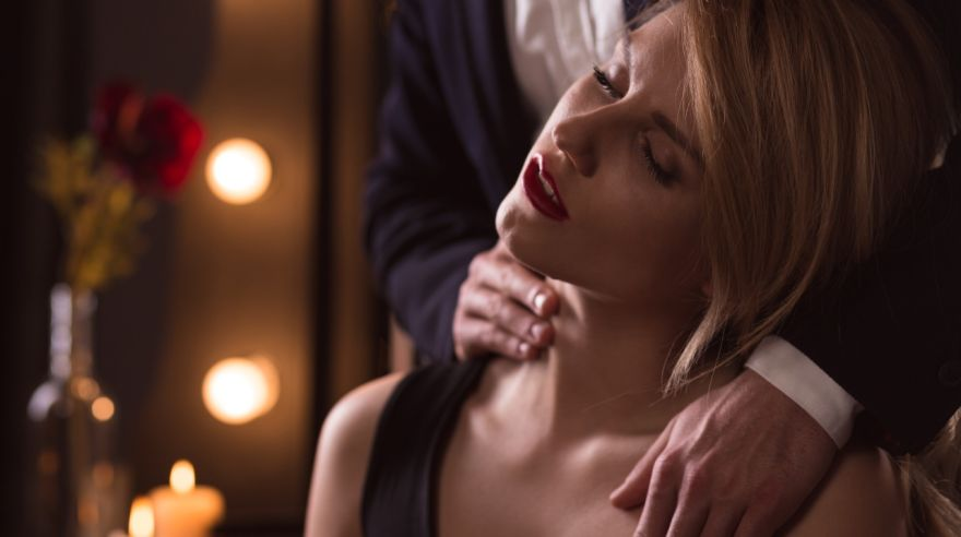 Woman excited by man's touch