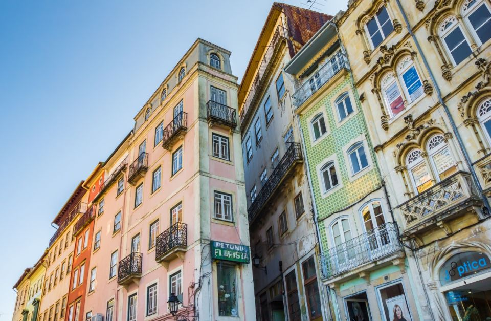Colorful facades in the historical center of Coimbra, Portugal