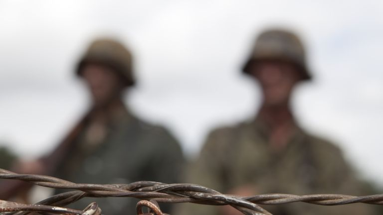 Barbed wire troops