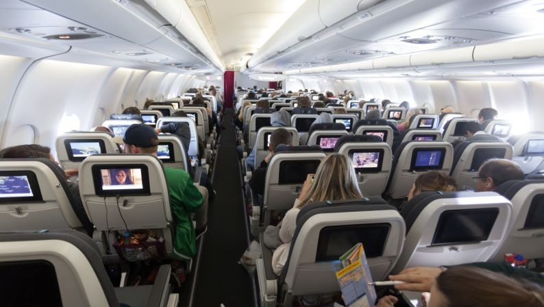 Interior of the EuroWings Airbus