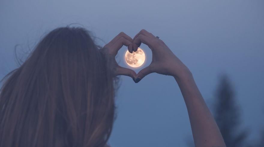 Love and moon creative concept.