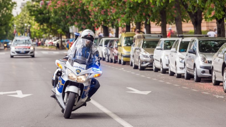 Police motorcycle on streets of Zagreb
