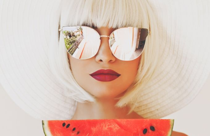 f4ed17268267 Lady in hat and sunglasses with watermelon