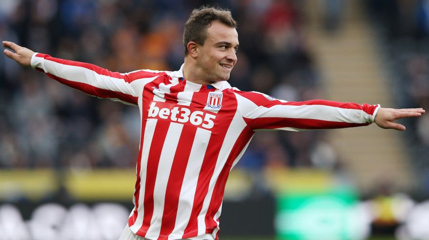 Xherdan Shaqiri, Stoke City, golova oslava, vs. Hull City, Premier League, Okt 2016