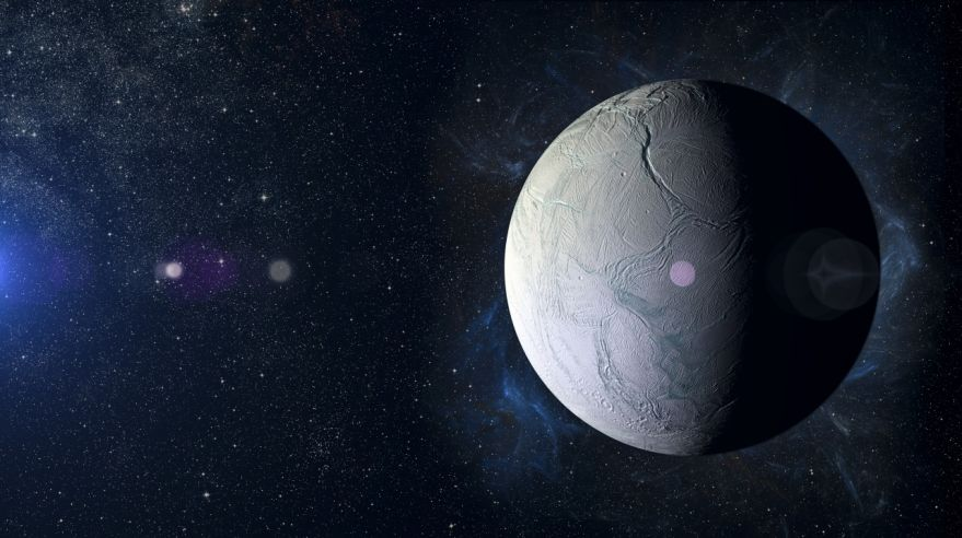 Solar system planet Enceladus on nebula background.