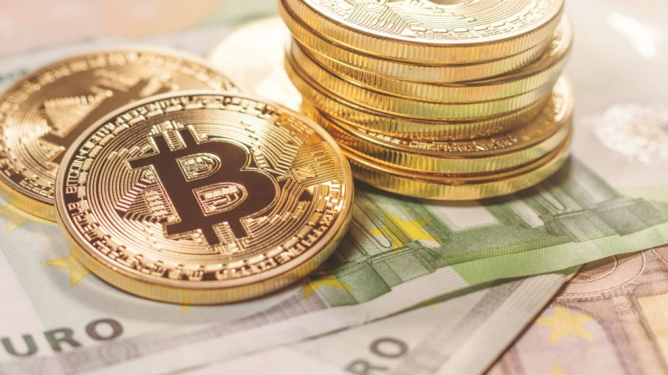 Golden bitcoin Euro background. Bitcoin cryptocurrency.