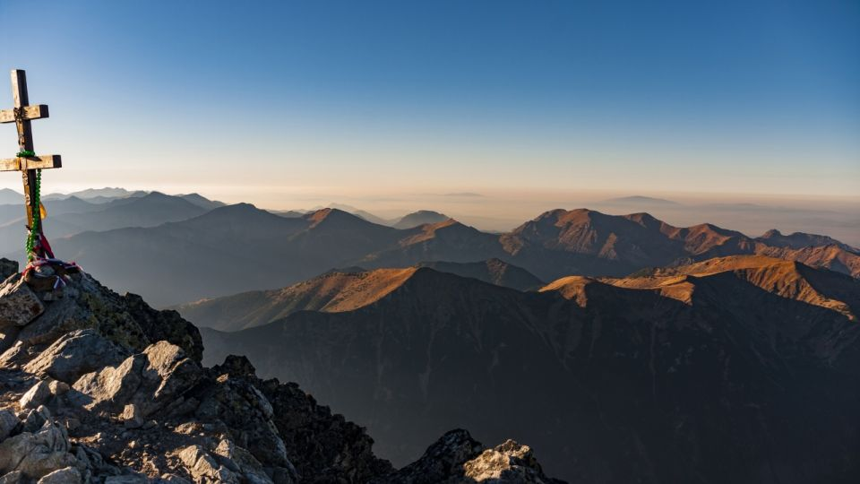 Beautiful autumn view from the summit of Krywan. Tatra mountains. Slovakia.