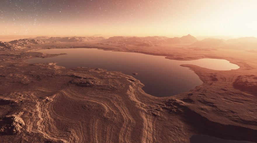 Martian landscape with lakes, water