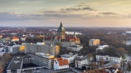 Aerial view of Hannover at evening.