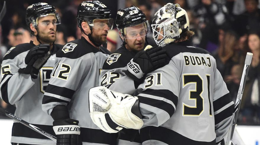 Peter Budaj, Los Angeles Kings, Trevor Lewis, Marian Gaborik, Andy Andreoff, dec16, gettyimages