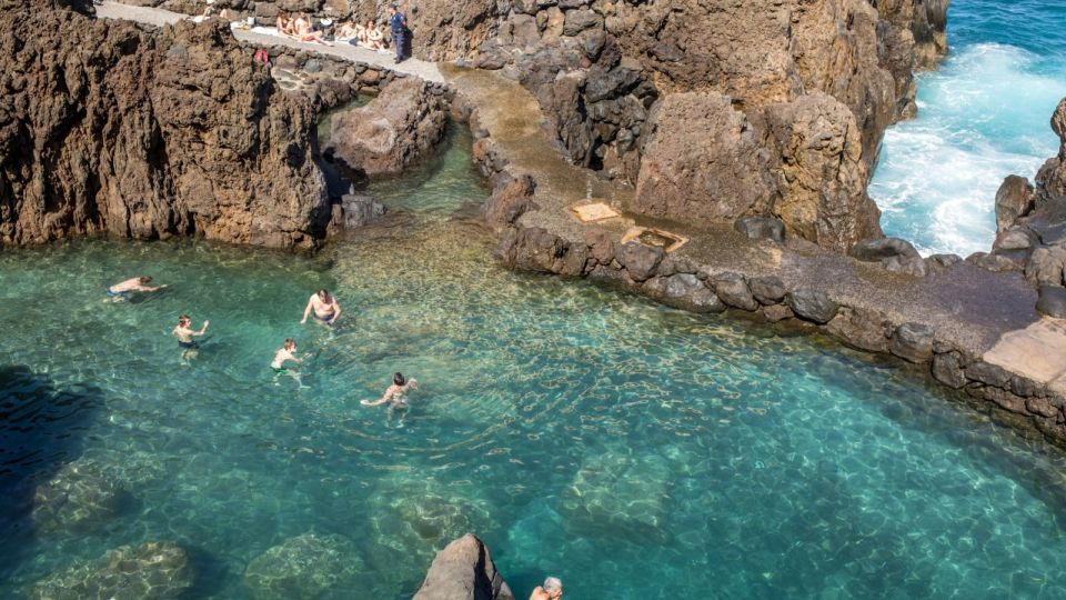 Natural rock pool of Porto Moniz on Madeira Island. Portugal.  It is a public bath with water from the Atlantic Ocean.