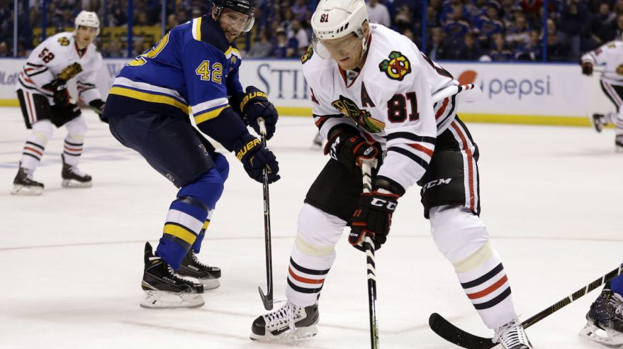 David Backes, Marian Hossa, Chicago Blackhawks, St. Louis Blues, apr16