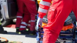 Paramedics in a rescue operation after road traffic accident