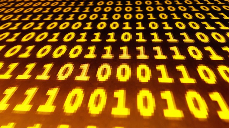 Binary ones and zeroes on a computer screen