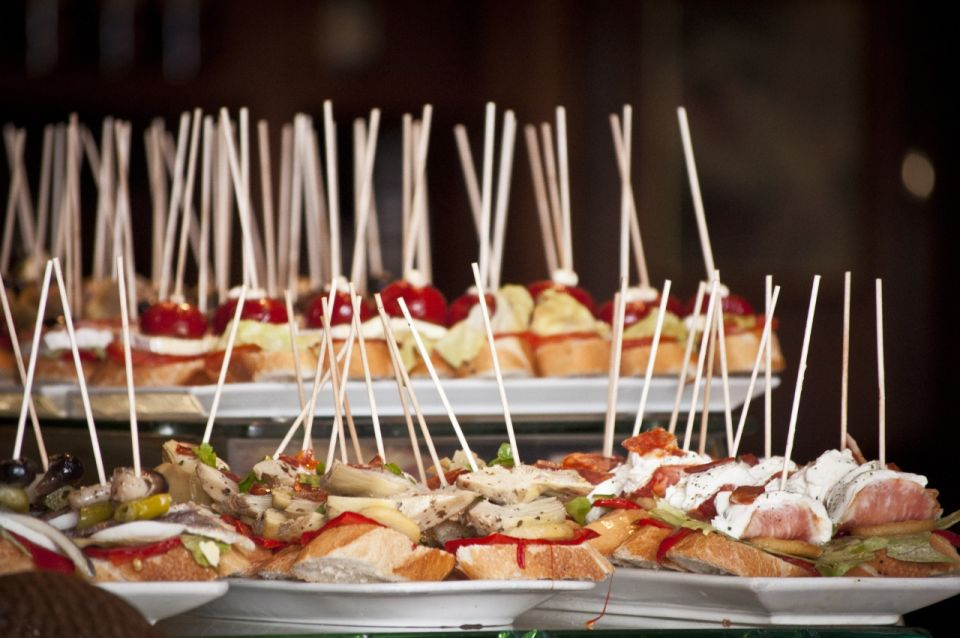 Tapas platters of fresh bread with toppings