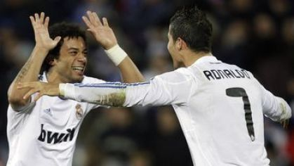 Marcelo tukes cristiano ronaldo real madrid jan2011