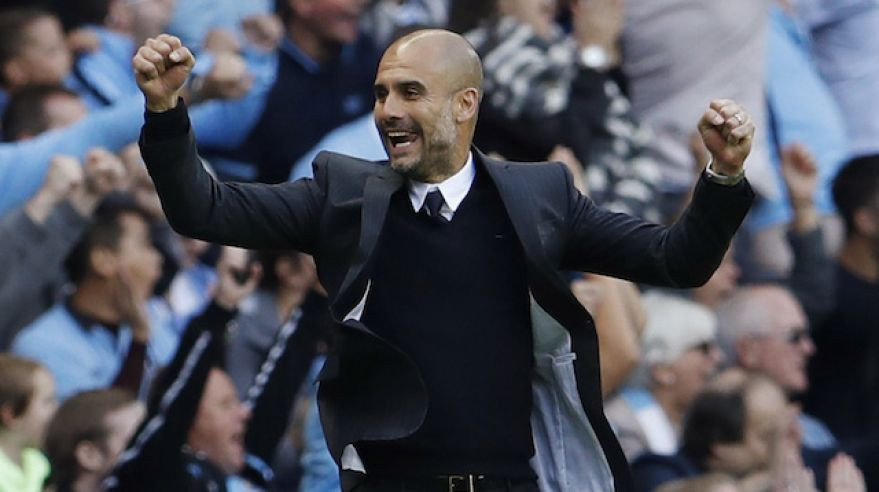 pep guardiola manchester city radost