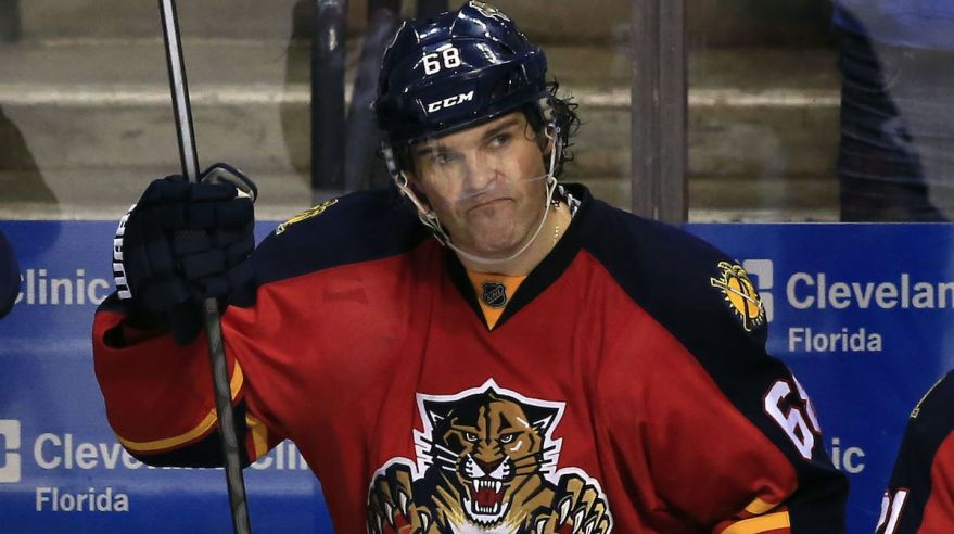 Jaromir Jagr, Florida Panthers, striedacka, ruka hore, NHL, Mar2016