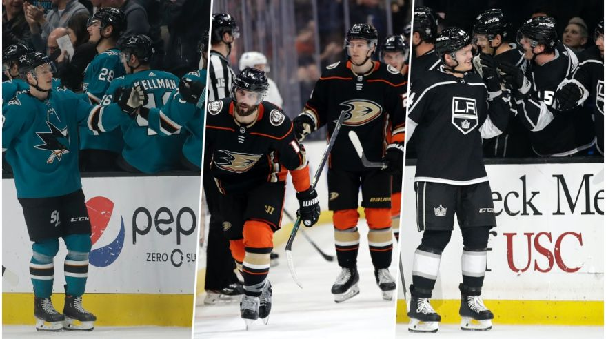 Koláž - San José Sharks, Anaheim Ducks a Los Angeles Kings.