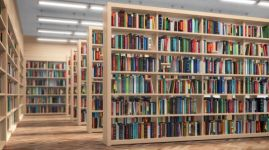 Library. Bookshelves with books and textbooks. Learning and education concept.