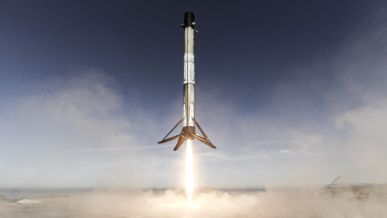 The Falcon 9 rocket lands vertically after returning from space during the Sentinel 6 mission.