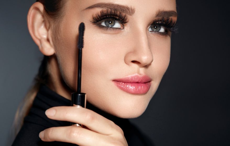 Beautiful Girl With Beauty Face, Makeup And Long Black Eyelashes