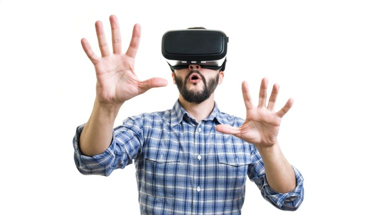 Bearded guy in virtual reality headset
