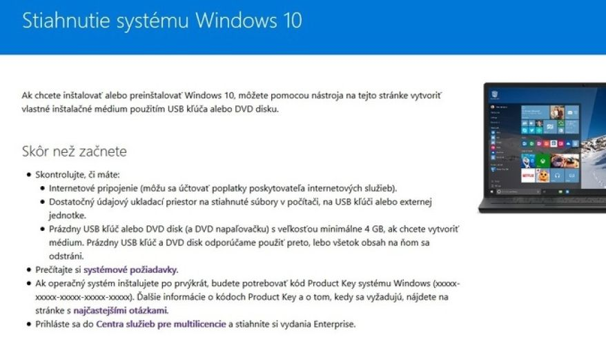 Inštalujeme Windows 10