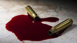 Two AR-15 cartridges that have been shot with blood