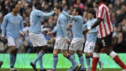 Manchester city hraci radost vs sunderland apr2011