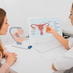 woman consults with her gynecologist in the gynecologist's office