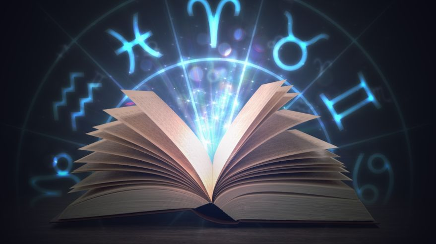 Open shining astrology book with zodiac signs above. 3D rendered illustration.