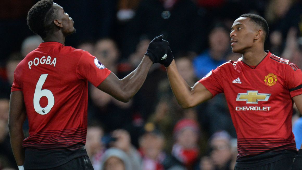 Paul Pogba a Anthony Martial.