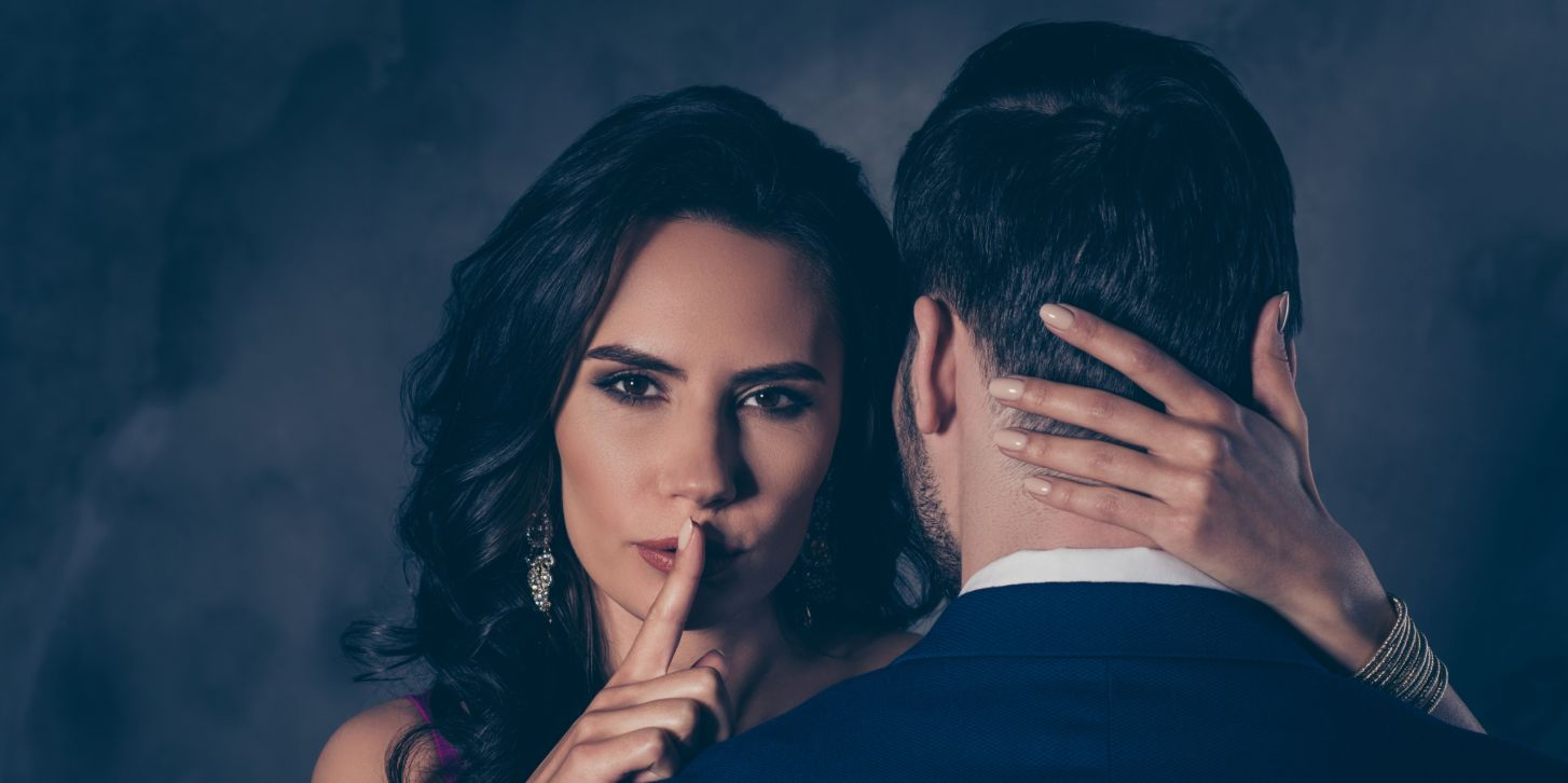 Shh! Portrait of tempting brunette lady showing silence sign with  forefinger touching secret mysterious gentlemen b24c4e2928f