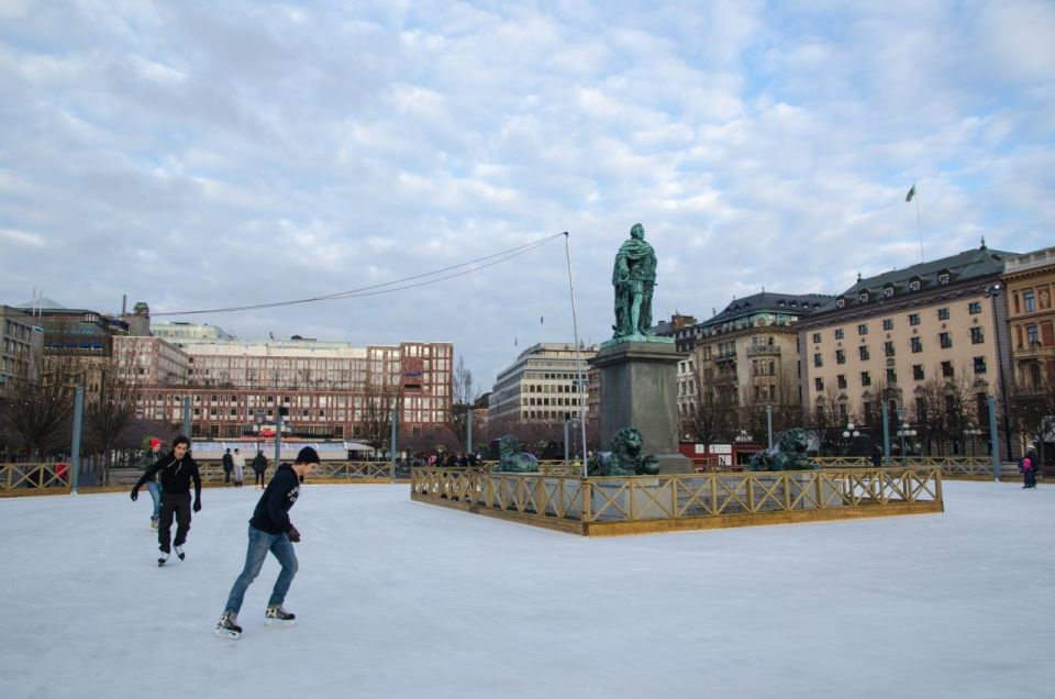 Ice skating in the city of Stockholm, Sweden