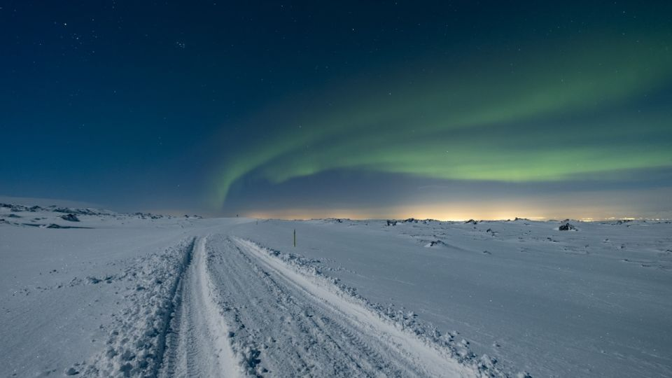 Aurora over road