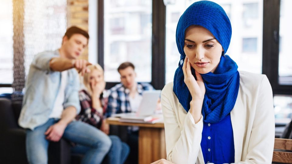 Cheerless muslim woman feeling unjustice from the society