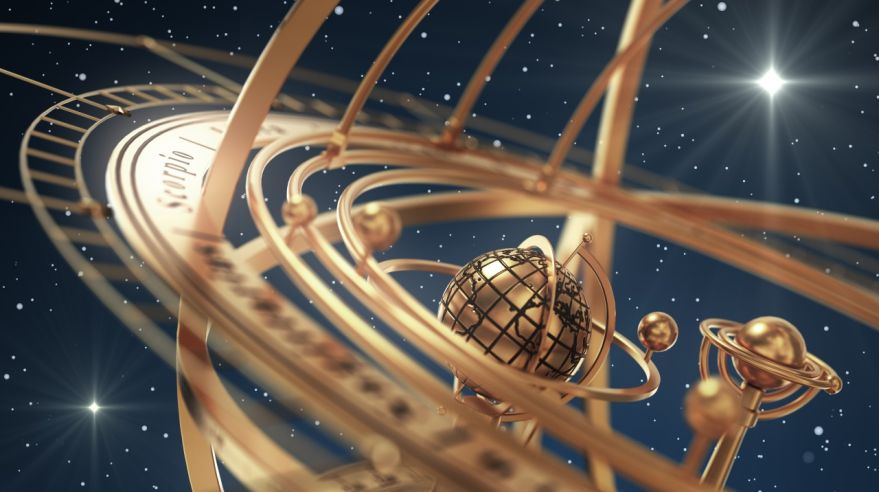 Armillary Sphere And Stars On Blue Background