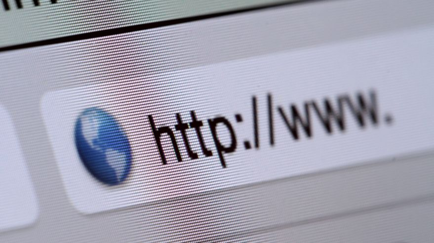 Macro shot of computer screen with http:// address bar and web browser