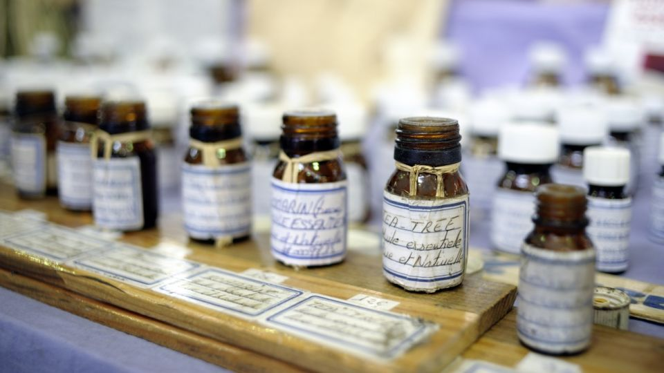 Essential Oils on a Market Stall