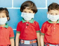 School preteen kids with protection face mask against new coronavirus, covid -19, nCov 2019 or sars cov 2 virus at school - children weared medical mask due to coronavirus outbreak.