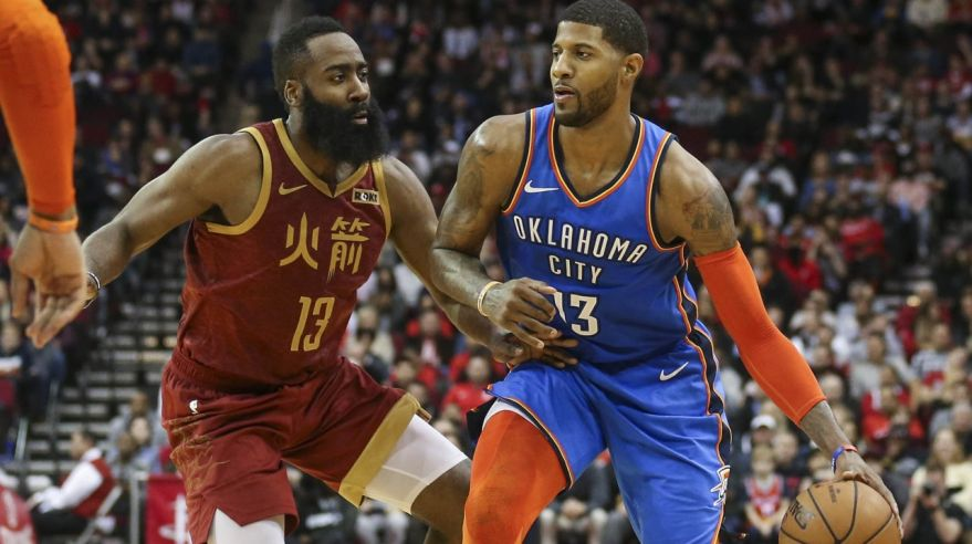 James Harden (Houston Rockets) a Paul George (Oklahoma City Thunder).