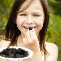Little girl with blackberry
