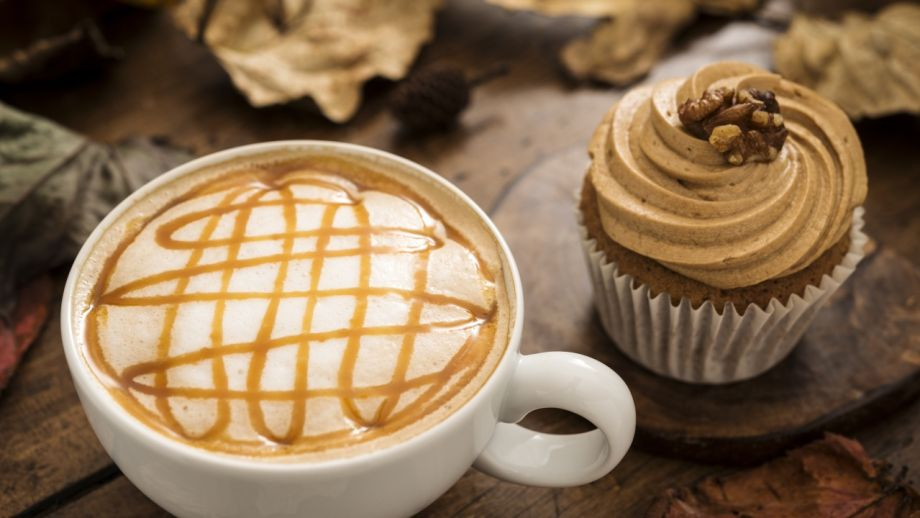 Autumn Caramel Coffee and Cupcake