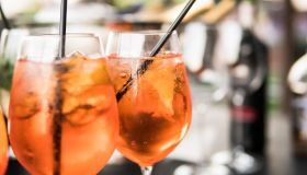 aperol spritz close-up. Summer party coctails