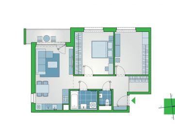 2-izbový byt s priestranným šatníkom a výhľadom z najvyššieho podlažia 4.etapy projektu NUPPU (D1204)