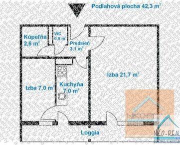 Predaj 2 izb.bytu po rekonštrukcii 3.p., loggia, na Ostredkoch, v tichej lokalite.