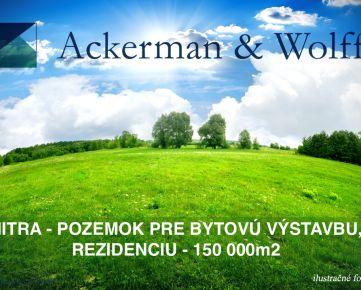 Ackerman & Wolff ponúka na predaj pozemok pre bytovú výstavbu, rezidenciu v lokalite Nitra - 150000m2